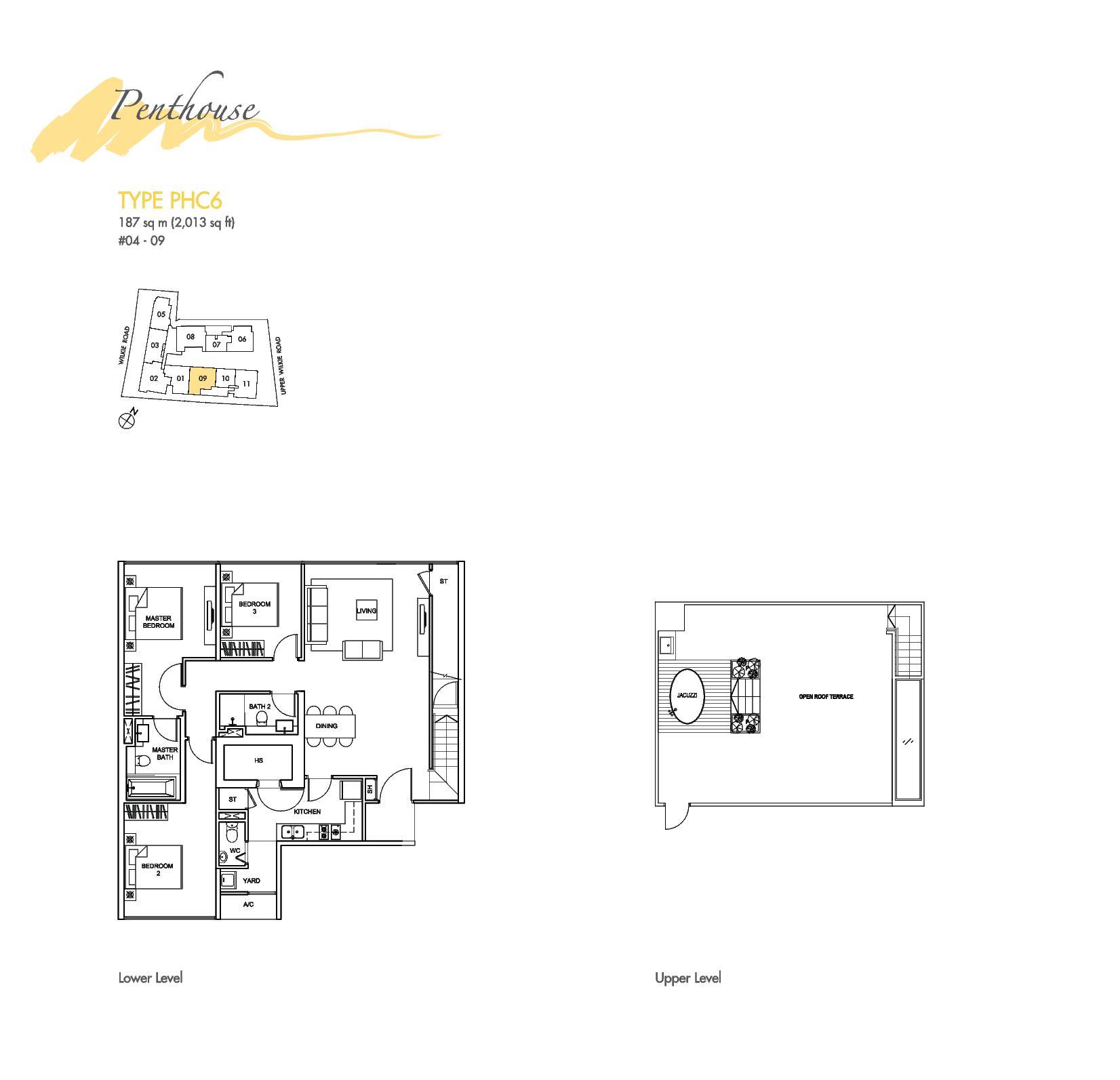 Penthouse 3 bed wilkie studio for Studio type plan